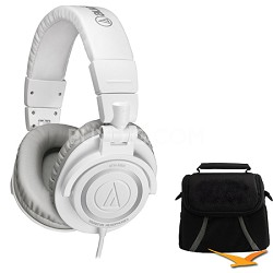 ATH-M50 Professional Studio Headphones w/ Coiled Cable (Ice White) Deluxe Bundle