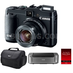 PowerShot G16 Digital Camera w/ Pro 100 Printer/ 50-Pack Photo Paper and Case