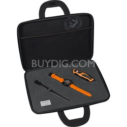 Men's Squadron Chrono Swiss Watch and Knife - Black Dial/Orange and Black Straps