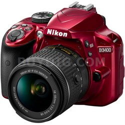 D3400 24.2 MP DSLR Camera w/ AF-P DX 18-55mm VR Lens Kit (Red)