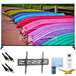 """XBR65X850B - 65"""" 3D 4K UHD Smart TV Motionflow 240 Tilt Mount & Hook-Up Bundle"""