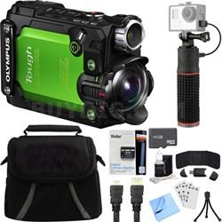 Stylus TG-Tracker Waterproof Shockproof 4K Action Cam Green Deluxe Bundle