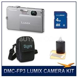 DMC-FP3S LUMIX 14.1 MP Digital Camera (Silver), 4GB SD Card, and Camera Case