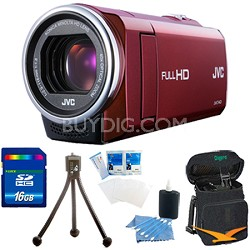 GZ-E10RUS - HD Everio Camcorder 1080p 40x Zoom f1.8 (Red) with 16GB Bundle