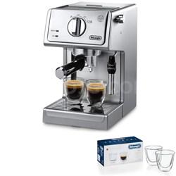 15 Bar Pump Driven Espresso/Adjustable Cappuccino Machine (Steel) 2 Glass Bundle