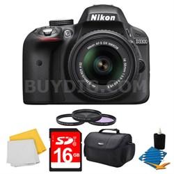 D3300 DSLR HD Black Camera, 18-55mm Lens, 16GB Card, Case, and Filter Bundle