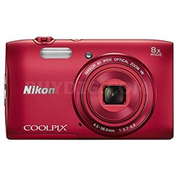 COOLPIX S3600 20.1 MP 8x Zoom Digital Camera - Red (Factory Refurbished)