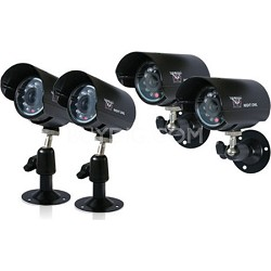 4 Pack Indoor / Outdoor Color Wired Cameras with 240ft of Cable