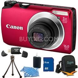 PowerShot A3300 IS 16MP Red Digital Camera 8GB Bundle