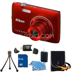COOLPIX S4100 14MP Red Digital Camera 8GB Bundle