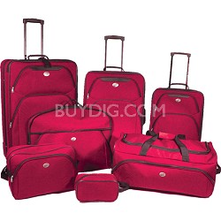 7 Piece Deluxe Lightweight Luggage Set (Red)