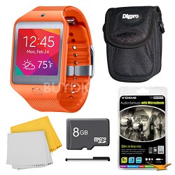Gear 2 Neo Orange Watch, Case, and 8GB Card Bundle