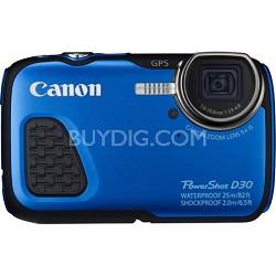 PowerShot D30 Waterproof Shockproof Freezeproof Digital Camera -Blue Refurbished