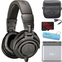 ATH-M50X Professional Studio Headphones (Gray) Portable Headphone Amp Bundle