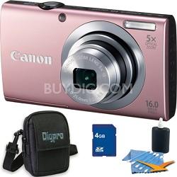 PowerShot A2400 IS 16MP Pink Digital Camera 4GB Bundle
