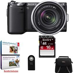 NEX-5N 16 Megapixel Compact SLR Camera w/ 18-55mm Lens (Black) Adobe Bundle