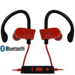Adrenaline Wireless Sport Clip Headphones Bluetooth Earbuds with Mic (Red/Black)