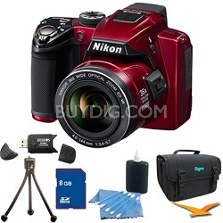 Coolpix P500 12MP Red Digital Camera 8GB Bundle