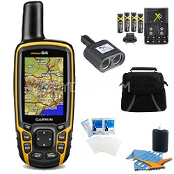 GPSMAP 64, Worldwide Handheld GPS Navigator Plus Accessory Bundle - 010-01199-00