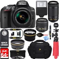 D5300 DSLR Camera w/ AF-P DX 18-55mm & 70-300mm Zoom Lens 64GB Accessory Bundle