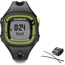 Forerunner 15 Heart Rate Monitor Bundle Small - Black/Green + Bike Mount Kit
