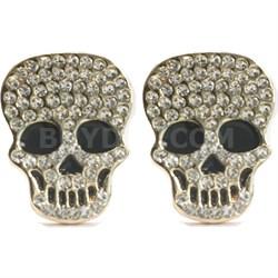 Swarovski Element 18k Gold Plated Studded Skull Earrings