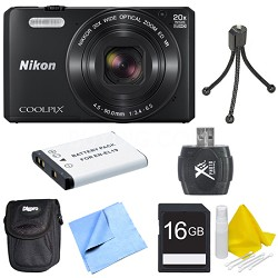 COOLPIX S7000 16MP 1080p HD Video Wi-Fi Digital Camera - Black Deluxe Bundle