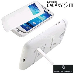 Battery Case with Protective Screen Cover For Samsung Galaxy S3 - White