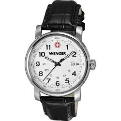 Men's Urban Classic Swiss Army Watch - Silver Sunray Dial/Black Leather Strap