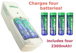 Standard Charger and 4 AA 2300mAh Ni-MH batteries