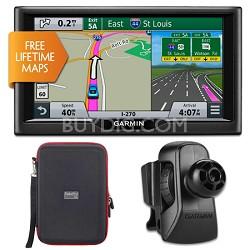 """nuvi 68LM 6"""" Essential Series 2015 GPS w Lifetime Maps Vent Mount & Case Bundle"""