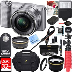 Alpha a5000 Mirrorless 20.1MP Camera 16-50mm Lens + 32GB Accessory Bundle