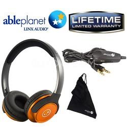 SH190 Travelers Choice Stereo Headphones w/ LINX AUDIO & Inline Volume - Orange