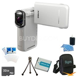 HDR-GW77V/W HD 20.4 MP Waterproof, Shockproof, Dustproof Camcorder (White)Bundle