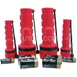 Rubber Flashlight Combo with Batteries, 4-Pack