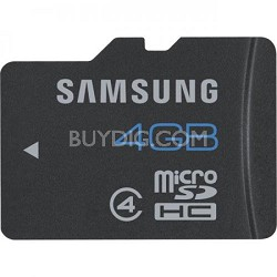 4GB Class 4 SDHC microSD w/ Adapter for Transfer Speeds of up to 24 MB/s