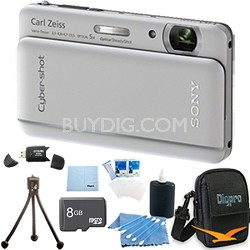 "Cyber-shot DSC-TX66 18.2 MP CMOS Camera 5X Zoom 3.3"" OLED Silver 8 GB Memory Kit"