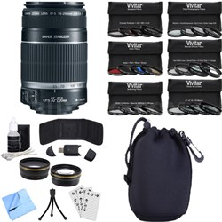 EF-S 55-250mm f/4-5.6 IS II (Stabilized) Telephoto Lens Photography Bundle