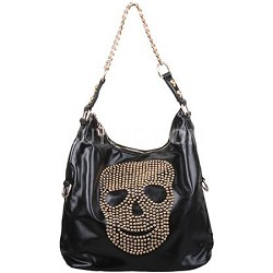 Skull Studded Hobo with Gold Details in Black