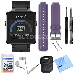 vivoactive GPS Smartwatch - Black (010-01297-00) Purple Replacement Band Bundle