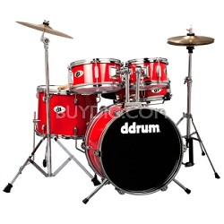 D1CRD D1 JR Complete 5-piece Drum Set, Candy Apple Red