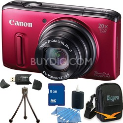 PowerShot SX260 HS Red Digital Camera 8GB Bundle