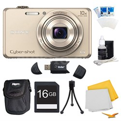 DSC-WX220 Gold Digital Camera, 16GB Card, and Case Bundle