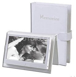 "7"" Portable Digital Photo Frame with Embossed Leather Cover - OPEN BOX"