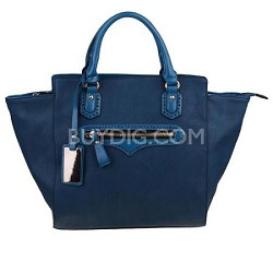 Large Designer Themed Foxy Tote Handbag with Silver Details in Navy
