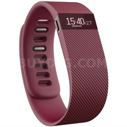 Charge Wireless Activity Wristband, Burgundy, Large - OPEN BOX