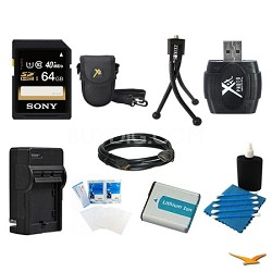 64GB SD Card, Case, Battery, Card Reader, Battery Charger, Mini Tripod, and More