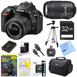 D5500 Black DSLR Camera 18-55mm Lens, 55-300 Lens, 32GB, and Battery Bundle
