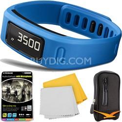 Vivofit Fitness Band Bundle with Heart Rate Monitor (Blue) Plus Accessory Bundle