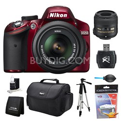 D3200 DX-Format Red Digital SLR Camera 18-55mm and 40mm Lens Kit